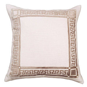 Lili Alessandra Dimitri Ivory Basketweave with Fawn Velvet Pillows