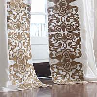 Lili Alessandra Mozart White Linen/Straw Velvet Applique Drapery Panel