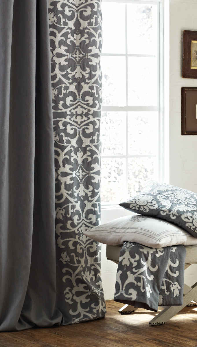 Lili Alessandra Emily Diamond Quilted Bedding Collection In Ash Gray Linen LC288GW Olivia Curtain Panel