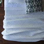 Lili Alessandra Emily White Linen Diamond Quilted Coverlet - D