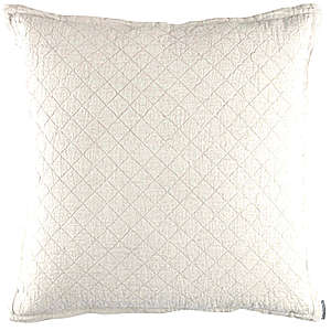 Lili Alessandra Emily White Linen Diamond Quilted Pillow