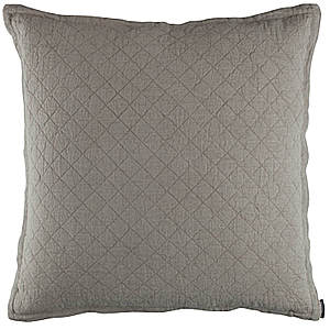 Lili Alessandra Emily Stone Linen Diamond Quilted Pillow - E