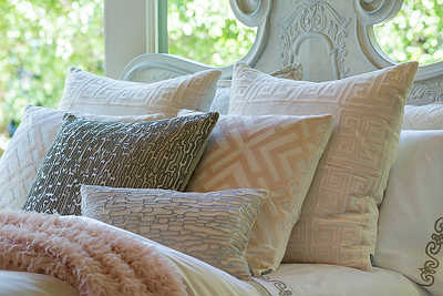 Lili Alessandra Guy Ivory Basketweave with Blush Velvet Bedding Collection