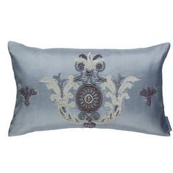 Lili Alessandra Hand Appliqued Pillows in Blue Silk With Silver Velvet Applique.