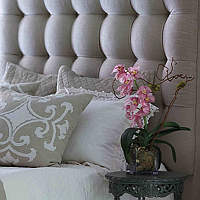 These upholstered bed headboards are wonderful accompaniments to Lili Alessandra's bedding collections.