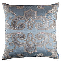his pillow's blue silk applique decoration is a unique design by Lili Alessandra that works well with neutral color bedding pieces.