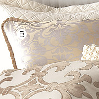 Lili Alessandra Jackie In Luxurious Silk/Tencel Fabric in Champagne with Silver Jacquard Euro Pillow