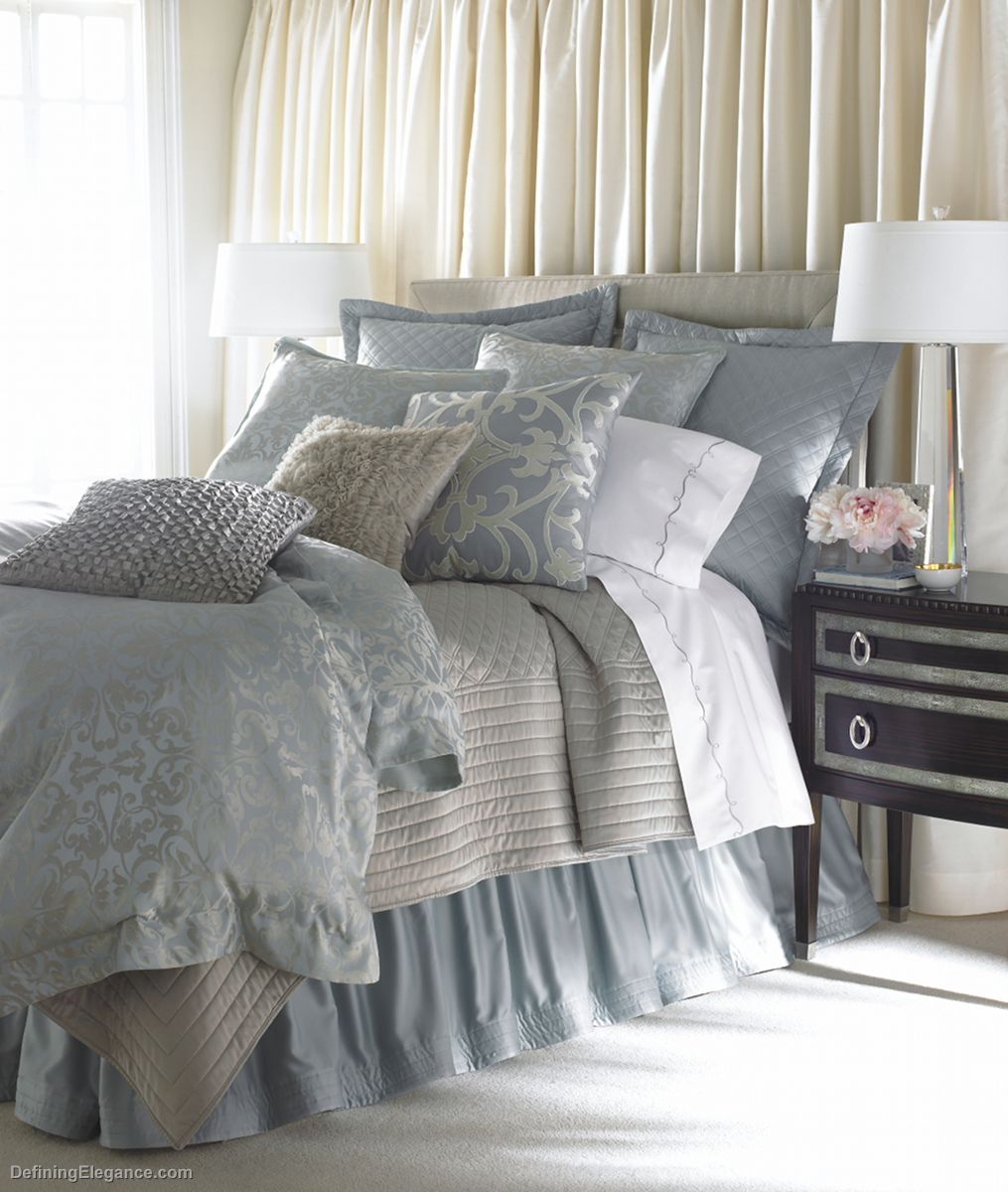 Lili Alessandra Jackie In Luxurious SilkTencel Fabric In Blue - Light blue and silver bedroom