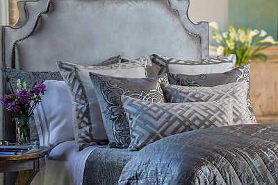 Lili Alessandra Karl Ivory Basketweave with Platinum Velvet Bedding Collection