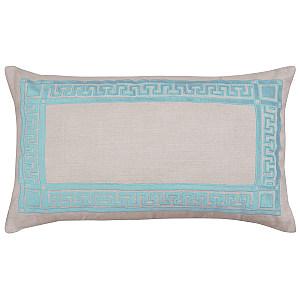 Lili Alessandra Dimitri - Natural Linen/ Seafoam Velvet Applique Dec Pillow
