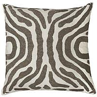 Zebra Ivory Velvet/Pewter Beads Pillows.