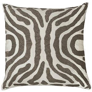 Lili Alessandra Zebra Ivory Velvet /Pewter Beads Pillow