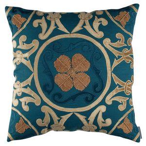 Lili Alessandra Madonna Teal Linen / Teal Velvet / Soutache Pillow