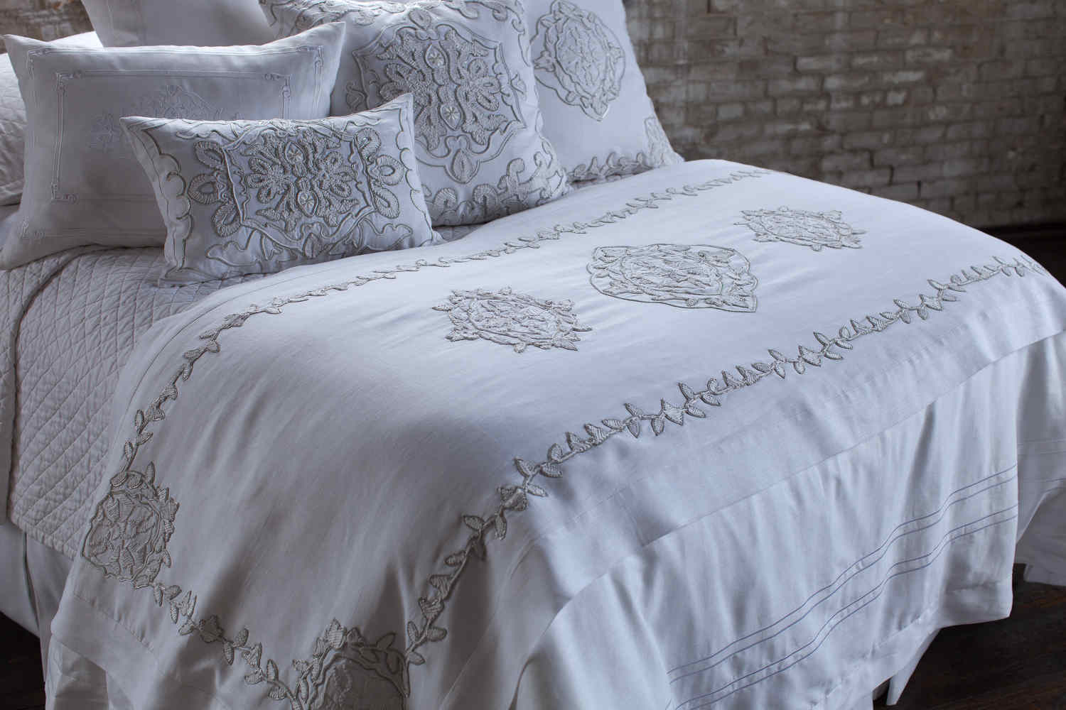 Discontinued Lili Alessandra Marrakech White Linen With