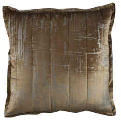 Lili Alessandra Moderne Straw Velvet/Silver Print Quilted Pillow