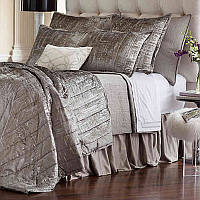 The Moderne Silver Velvet/Silver Print collection by Lili Alessandra was designed with clean crisp lines that work in a modern venue.
