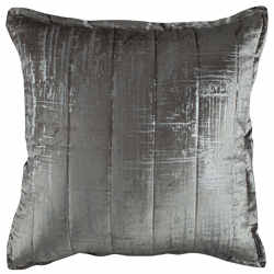 Lili Alessandra Moderne Silver Velvet/Silver Print Quilted Pillow