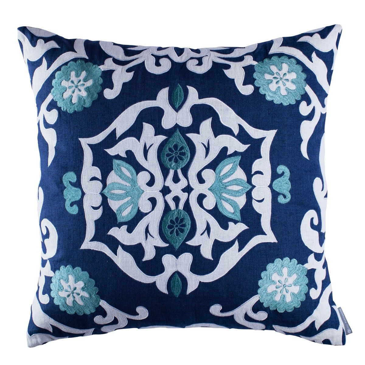 Small Square Decorative Pillows : Lili Alessandra Morocco - White Linen with Ocean Reef Applique Bedding