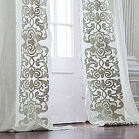 Lili Alessandra Mozart White Linen/Ice Silver Velvet Applique Drapery Panel