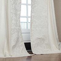 Lili Alessandra Mozart White Linen/White Linen Applique Drapery Panel