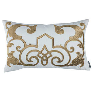 Lili Alessandra Mozart White Linen with Straw Velvet Applique Pillow