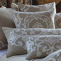 Lili Alessandra Natural Linen with White includes Louie and Angie decorative pillows and throws.
