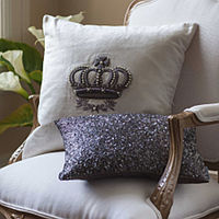 Lili Alessandra Neutrals with Accents of Silver Pillow will give your surroundings a rich and royal appearance.