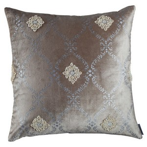 Lili Alessandra Audrey Fawn Velvet / Silver Print / Pearls Square Pillow