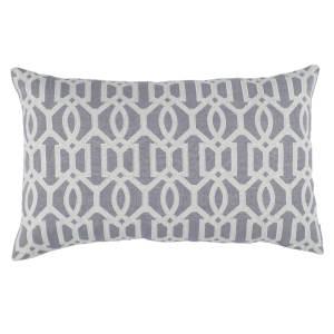 Lili Alessandra Nina & Bracelet Sand Linen Decorative Pillows - Bracelet Lg Rectangle Pillow Medium Grey / Light Grey (18x30).