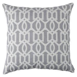Lili Alessandra Nina & Bracelet Sand Linen Decorative Pillows - Bracelet Square Pillow Medium Grey / Light Grey (24x24).