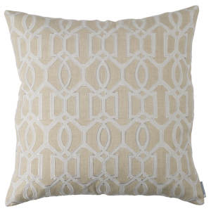 Lili Alessandra Nina & Bracelet Sand Linen Decorative Pillows - Bracelet Square Pillow Dark Sand / Light Sand 24X24.