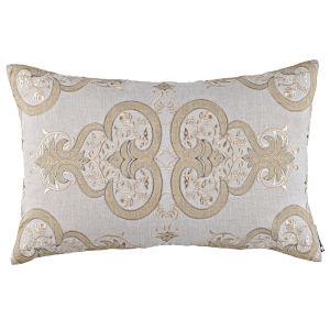 Lili Alessandra Nina & Bracelet Sand Linen Decorative Pillows - Nina Sm Rectangle Pillow Light Sand / Gold / Dark Sand 14X22.