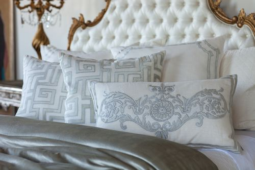 Lili Alessandra Onasis - Ice Silver Velvet with White Linen Applique Bedding