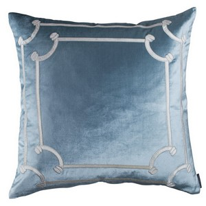 Lili Alessandra Versailles European Pillow Ice Blue Velvet/Ivory Velvet Pillows