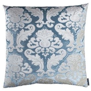 Lili Alessandra Versailles Square Pillow Ice Blue/Ivory Velvet Pillows