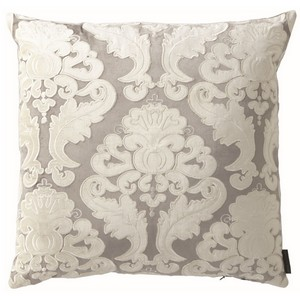 Lili Alessandra Versailles Square Pillow Silver/Ivory Velvet Pillows