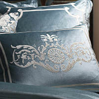 Shades of silver, ivory, champagne velvet modern pillows.