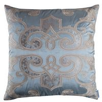 Lili Alessandra Mozart Pillows in Blue Silk/Earth Sheer Linen Applique