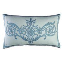 Lili Alessandra Paris Rectangle Ivory/Blue Silk Pillow