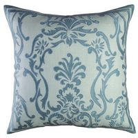 Lili Alessandra Hand Appliqued Pillows in Ivory with Blue Silk Applique