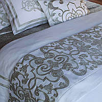 Lili Alessandra Mozart White Linen with Ice Silver Velvet Applique Throw