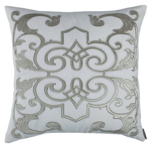 Lili Alessandra Mozart White Linen with Ice Silver Velvet Applique Pillow