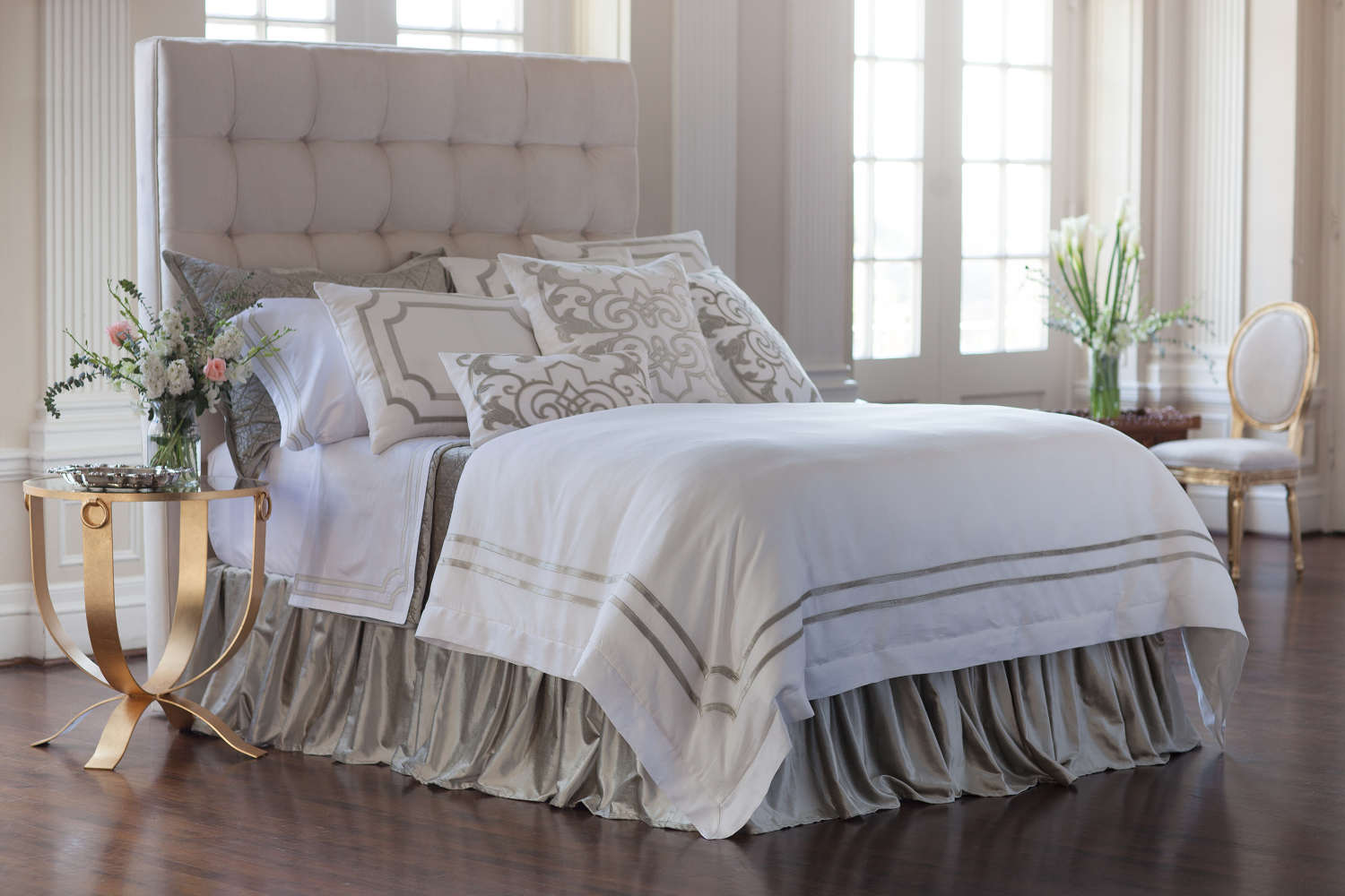 Lili Alessandra Soho White Linen With Ice Silver Velvet Applique Bedding  Collection