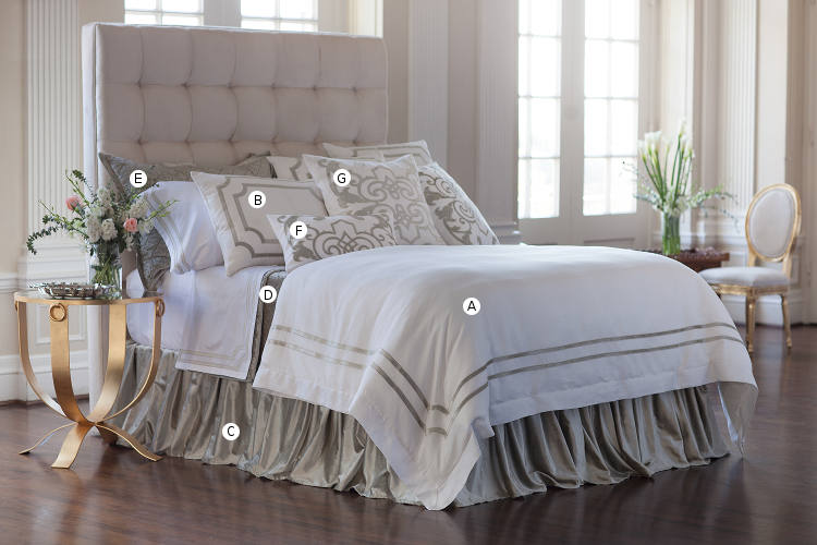 Lili Alessandra Soho White Linen with Ice Silver Velvet Applique Bedding Collection.