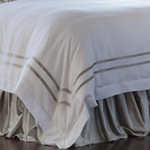 Lili Alessandra Soho Duvet White Linen with Ice Silver Velvet Applique Duvet