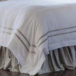 Lili Alessandra Soho Duvet White Linen with Ice Silver Velvet Applique Duvet