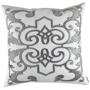Lili Alessandra Mozart White Linen with Silver Velvet Applique Pillow
