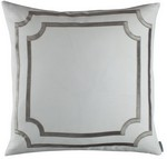 Lili Alessandra Soho White Linen with Silver Velvet Applique Pillow