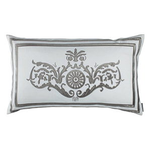 Lili Alessandra Paris Large Rectangle Pillow White Linen/Silver Velvet Pillow