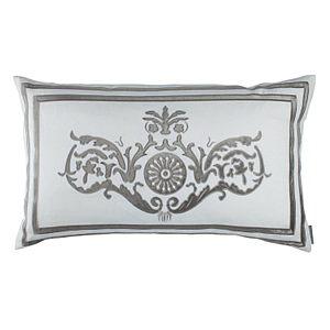 Lili Alessandra Paris Large Rectangle Pillow White Linen/Silver Velvet Pillow